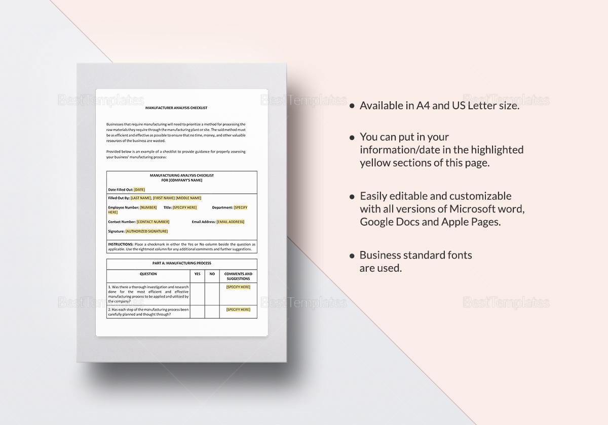 Checklist Manufacturer Analysis