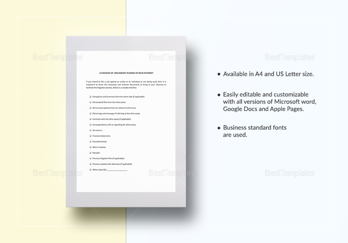 Checklist Documents to Bring to Your Attorney Template