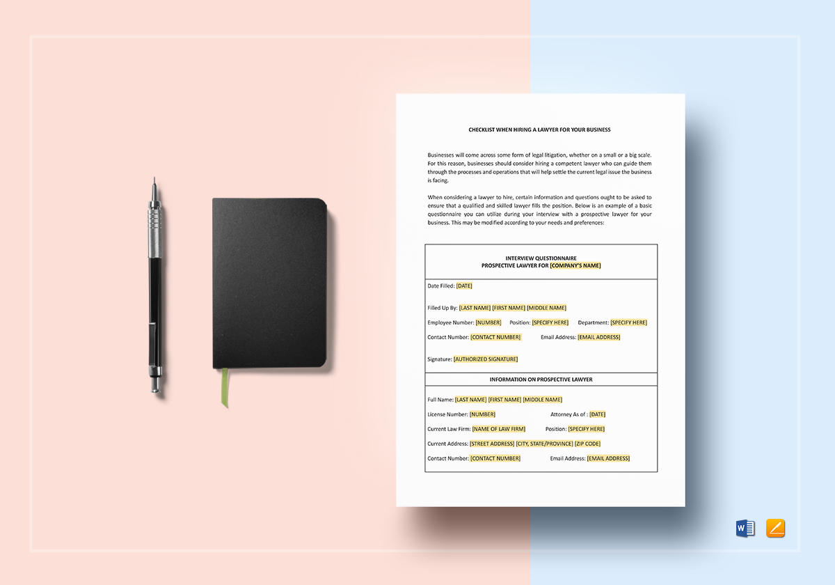 Checklist Questionnaire For Hiring a Lawyer