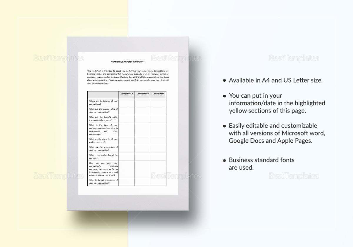 Worksheet Competitor Analysis