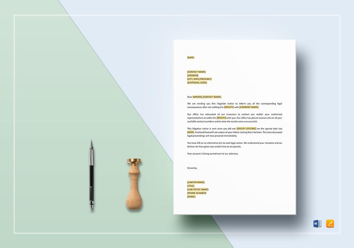 Letter Notice of Litigation
