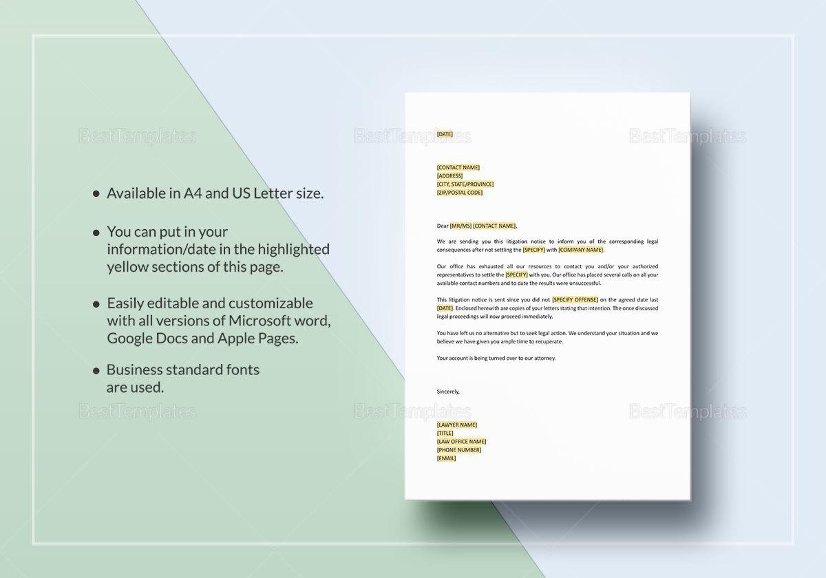 Letter Notice of Litigation Template
