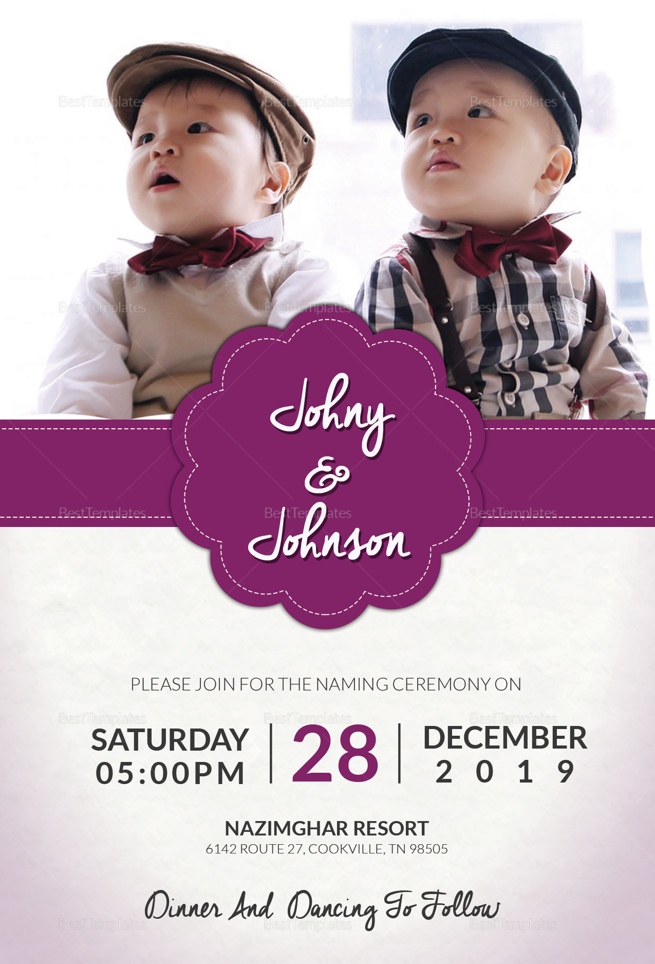 Grand Baby Name Ceremony Invitation Template