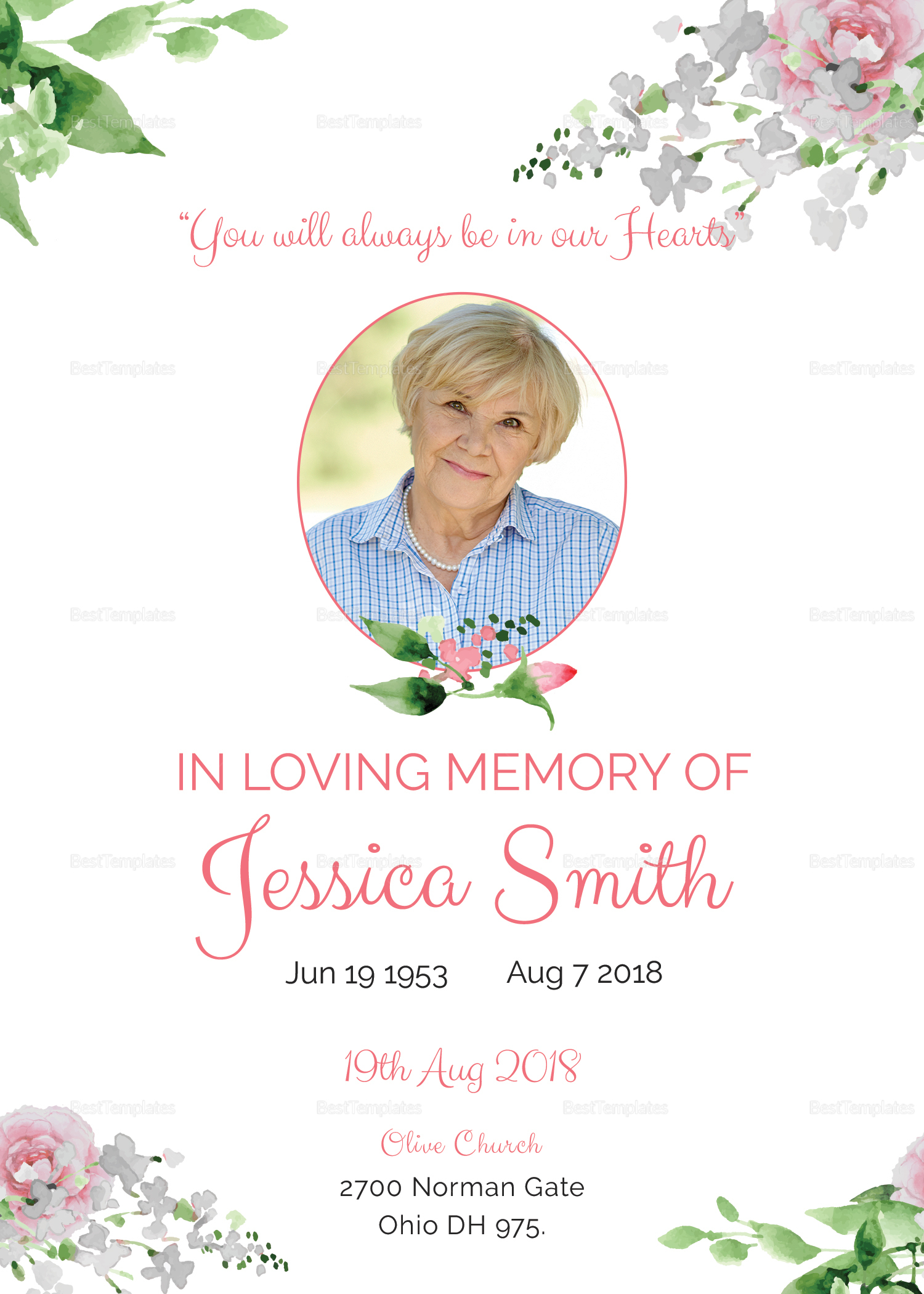 Funeral Program Invitation Design