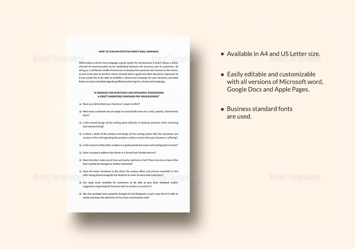 Checklist Planning an Effective Direct Mail Campaign Template