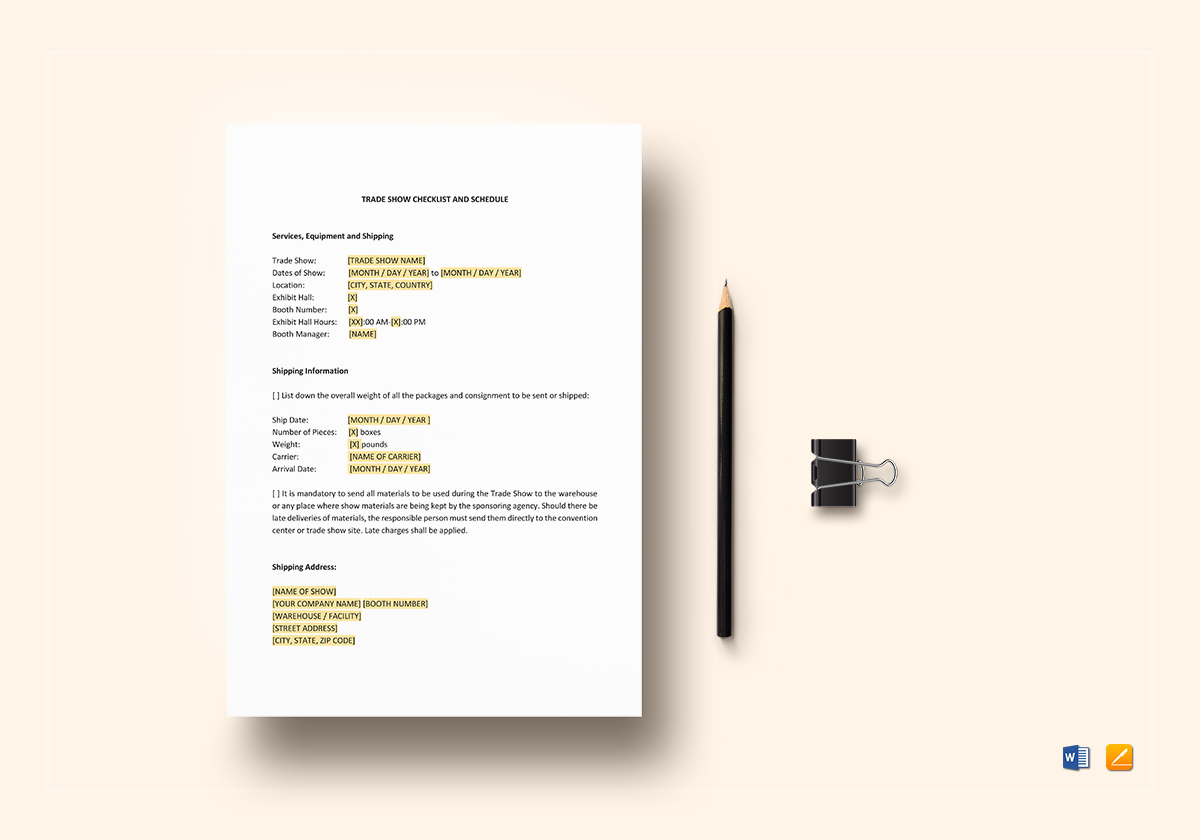 Checklist Trade Show Template