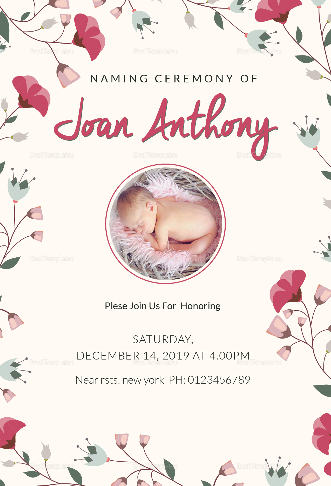Happiest Naming Ceremony Invitation Template; Happiest Naming Ceremony  Invitation Template