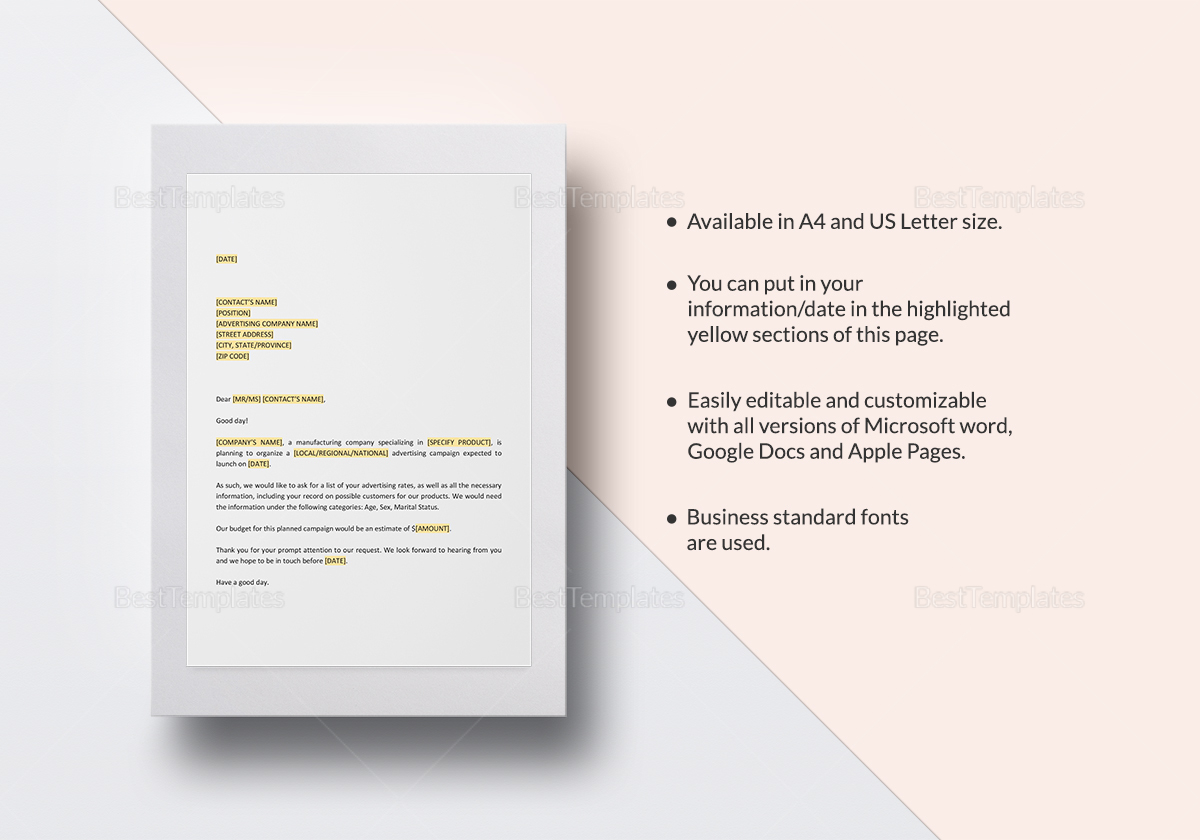 Request for Advertising Rate Information Template