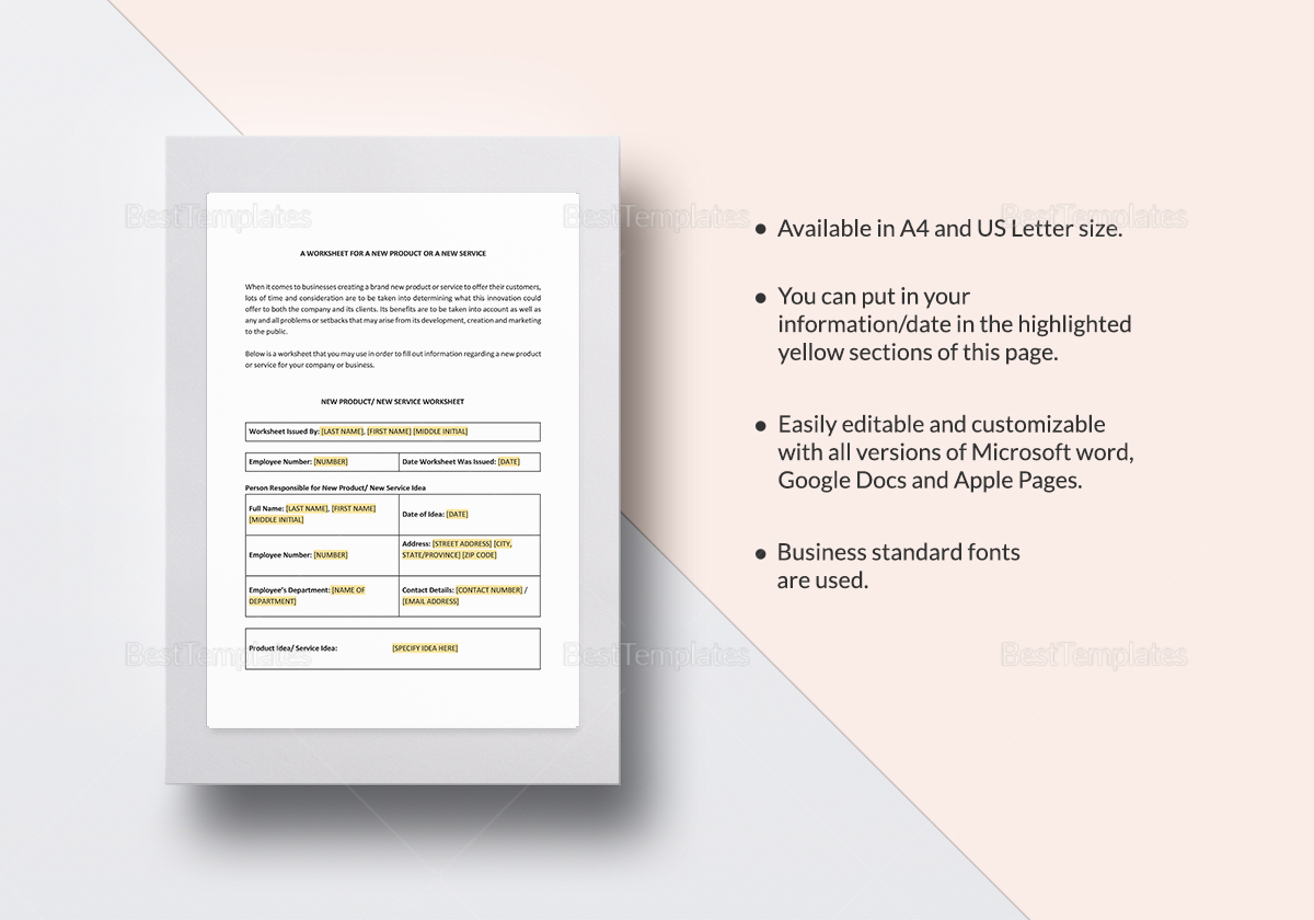 Worksheet New Product or Service Template