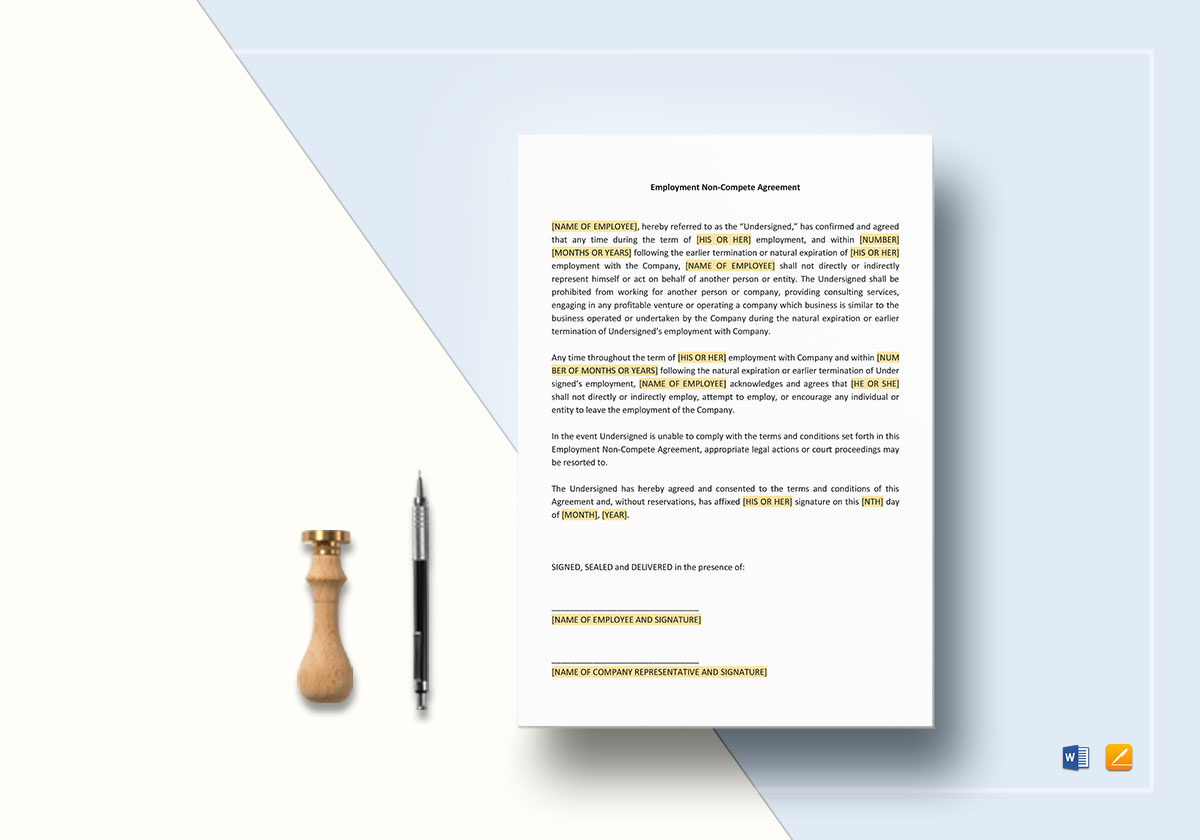 Employee Non Compete Agreement Template In Word Google Docs Apple Page
