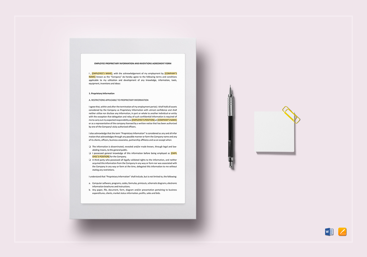 Proprietary information and inventions agreement template in word proprietary information and inventions agreement template platinumwayz