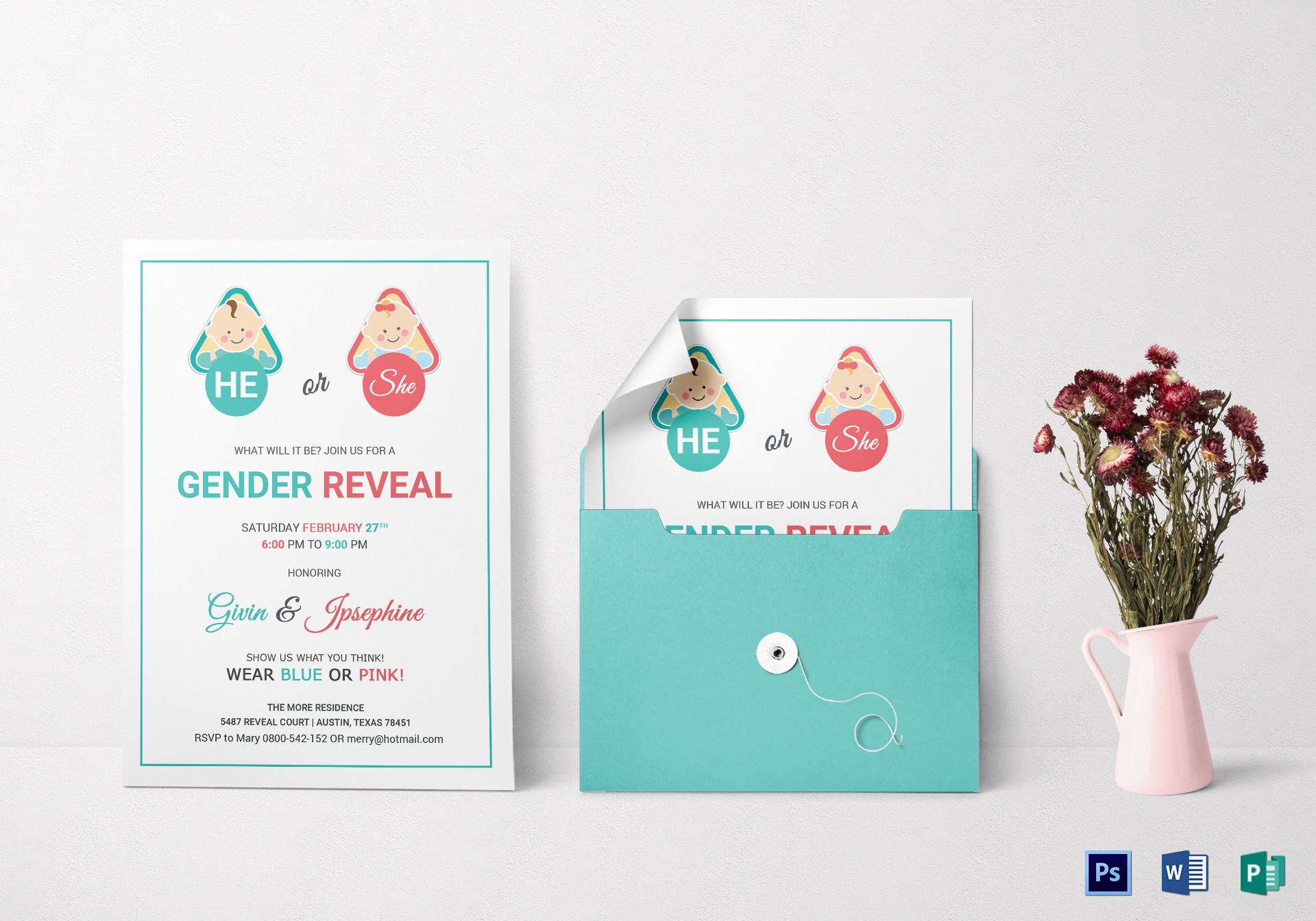 Baby Gender Reveal Invitation Card Design Template in Word, PSD ...