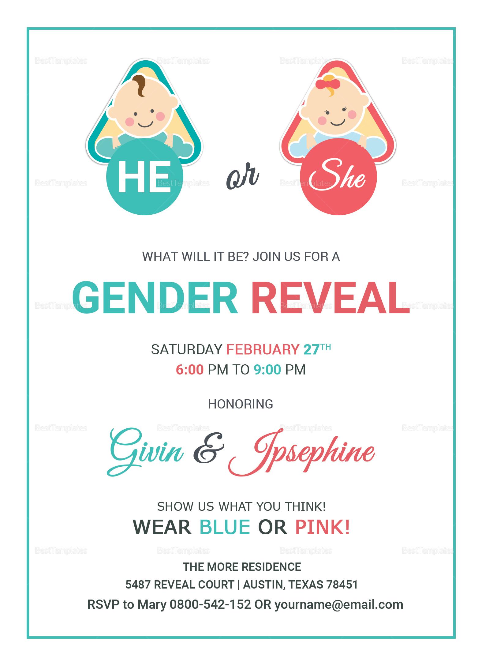 Baby Gender Reveal Invitation Card Design
