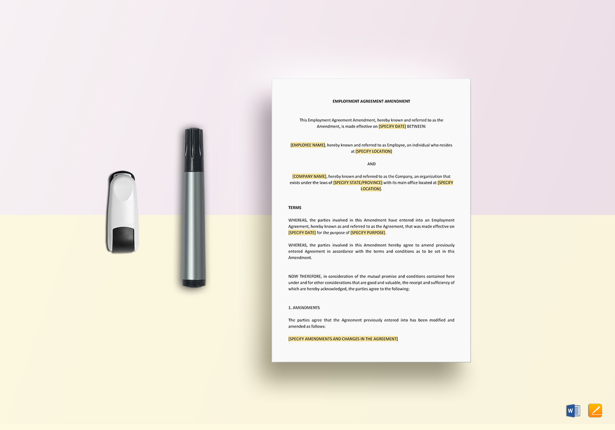 Employment Agreement Amendment Template In Word Apple Pages