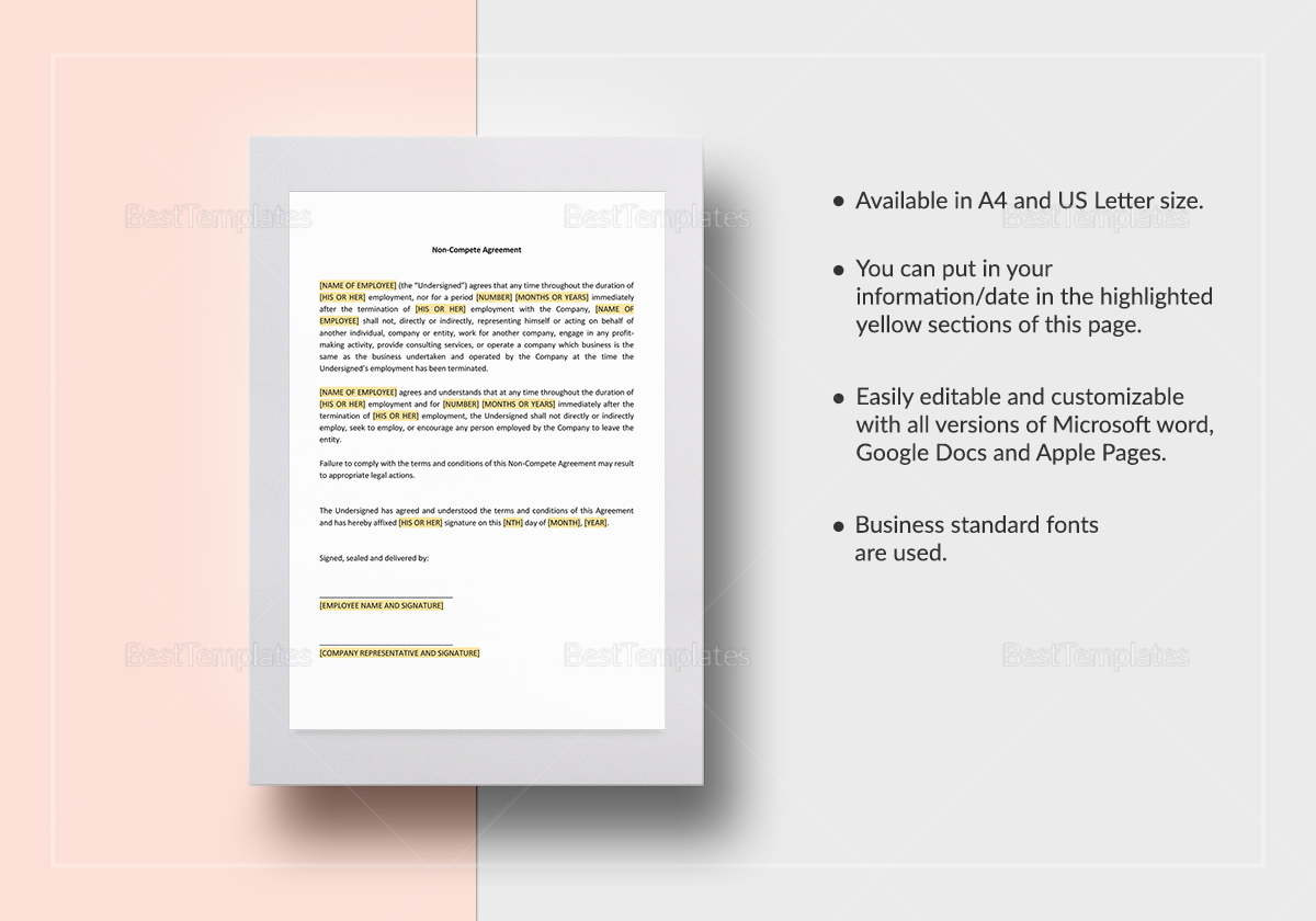Non Compete Agreement Template In Word Google Docs Apple Page