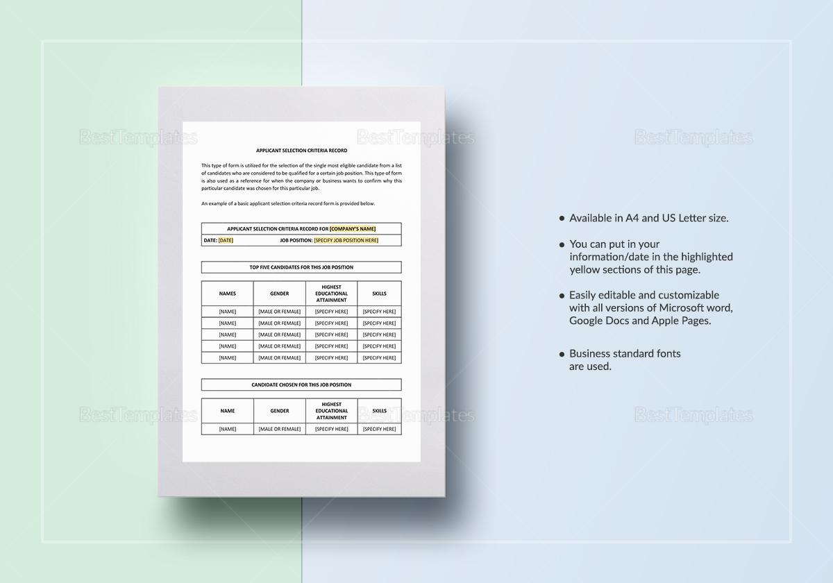 Applicant Selection Criteria Record