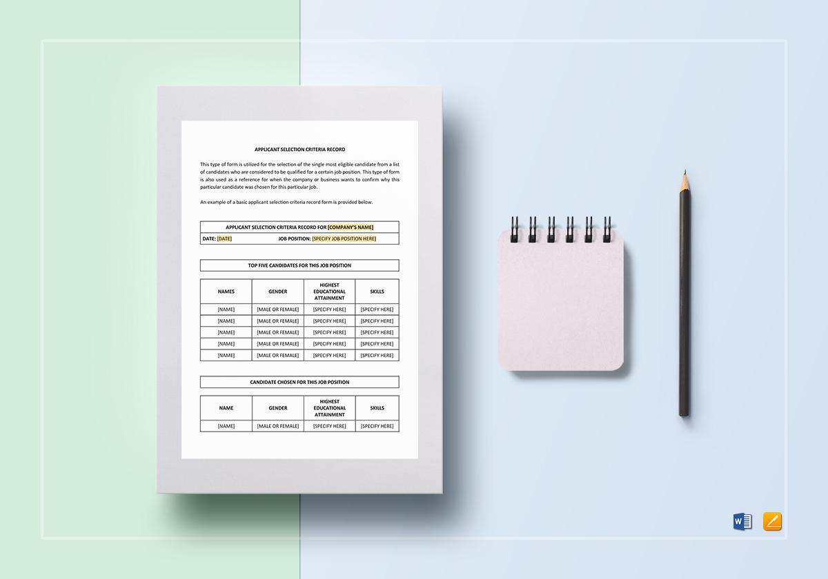 Applicant Selection Criteria Record Template