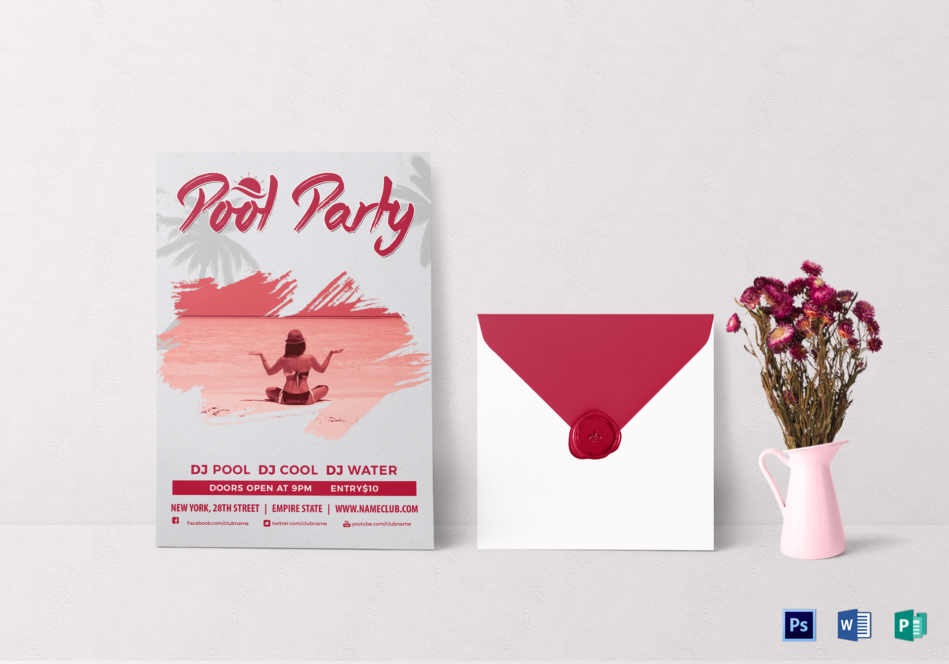 Grunge Pool Party Invitation Design Template in PSD, Word, Publisher