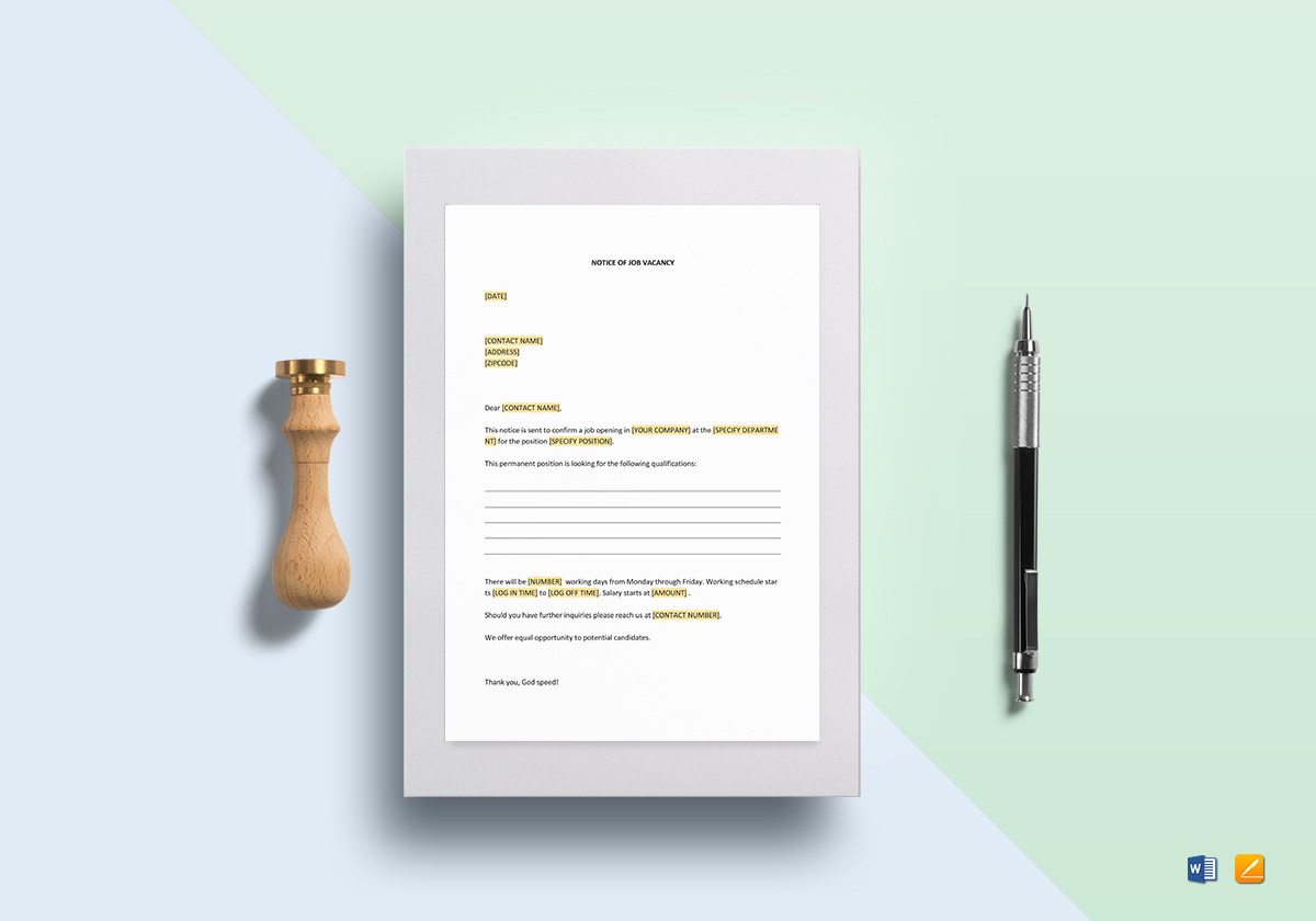 Notice of Job Opening Template