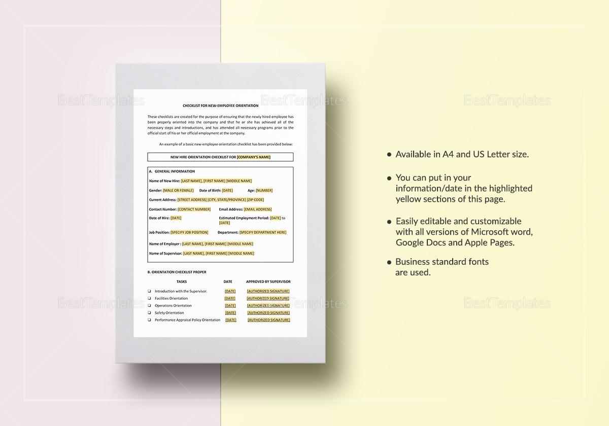 Checklist New-Employee Orientation