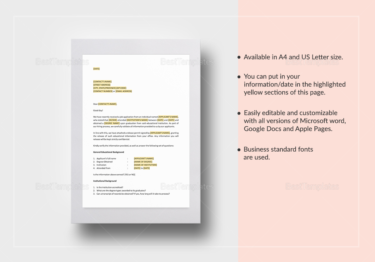 Educational Reference Check Letter