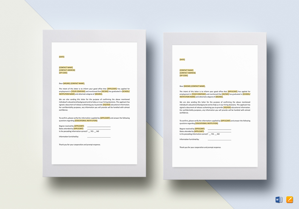 Sample Educational Reference Check Letter Template