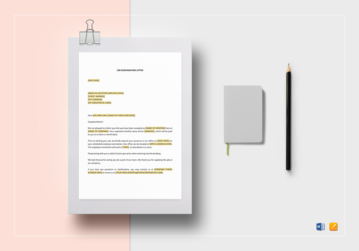 Job Confirmation Letter Template in Word Google Docs Apple Pages