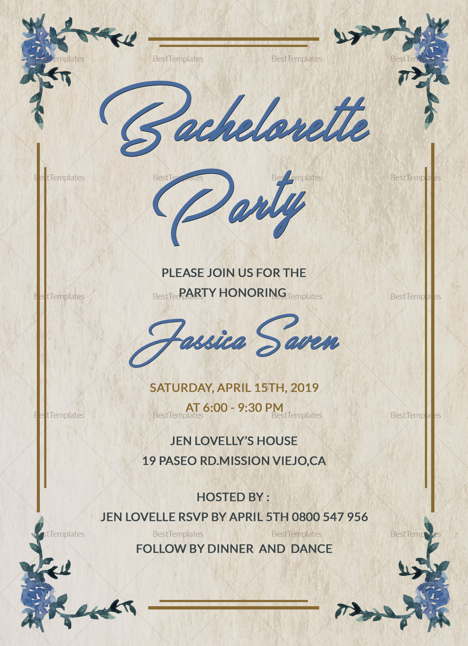 Floral Bachelorette Party Invitation Design Template