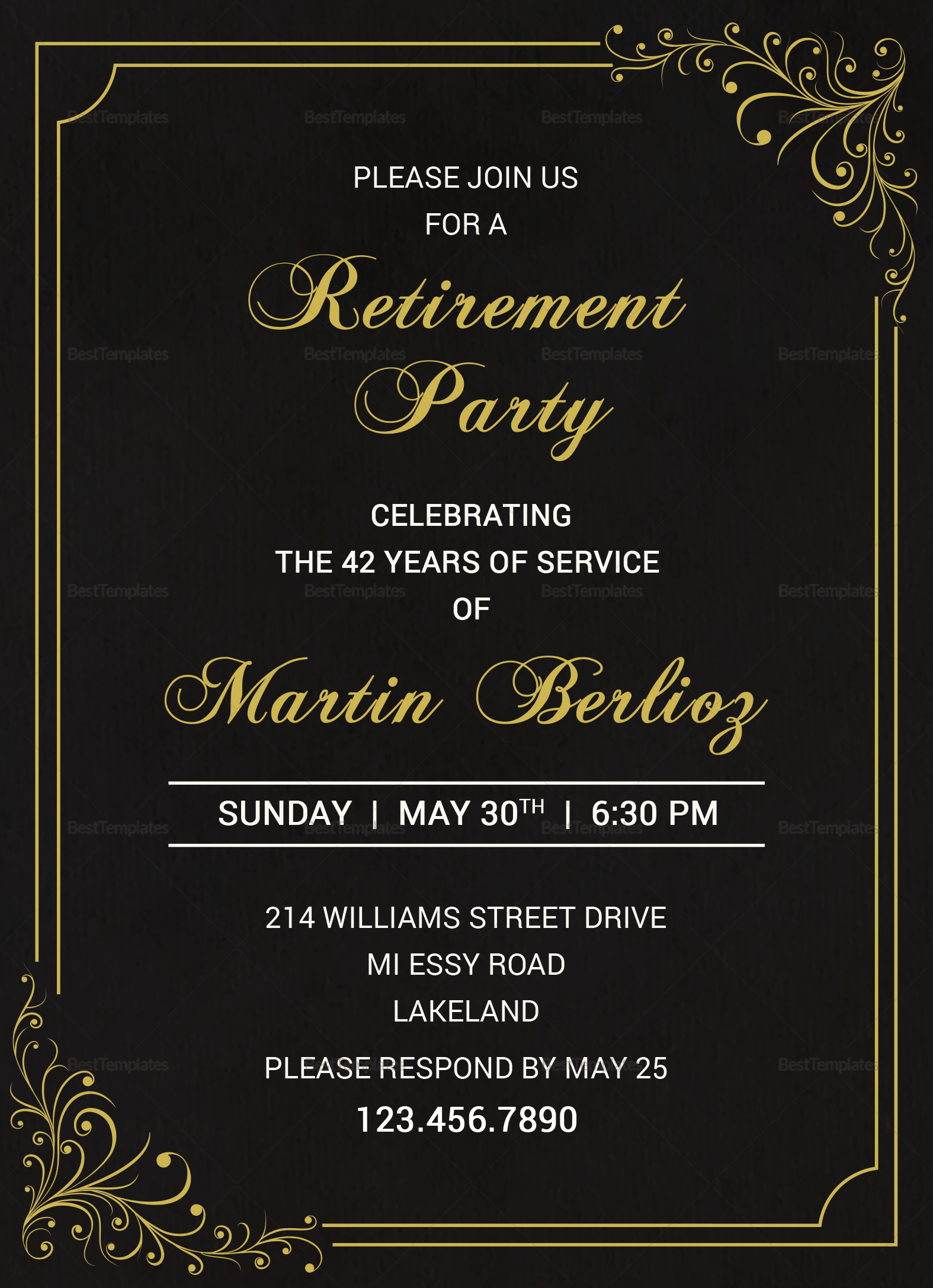 Black Gold Retirement Invitation Template; Black Gold Retirement Invitation  Template