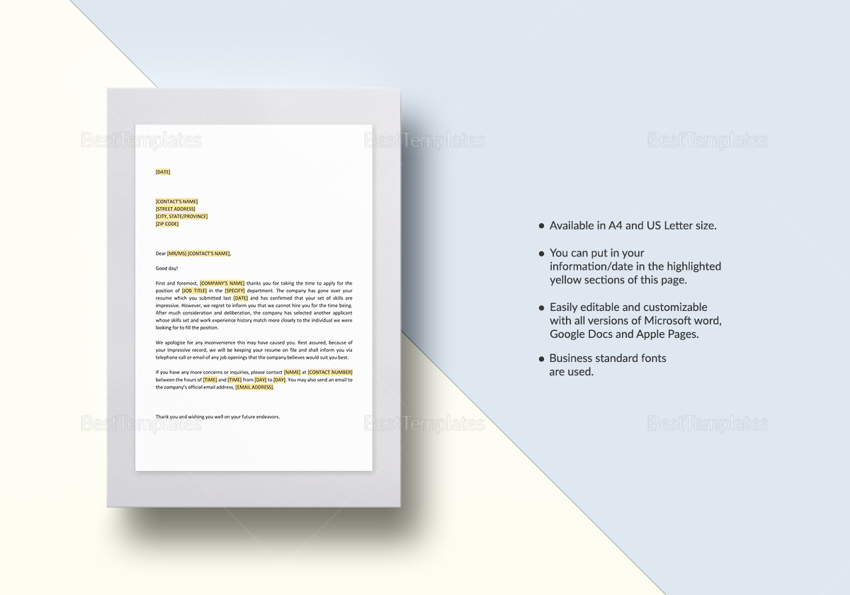 Negative Response to Job Candidate Post Interview Template