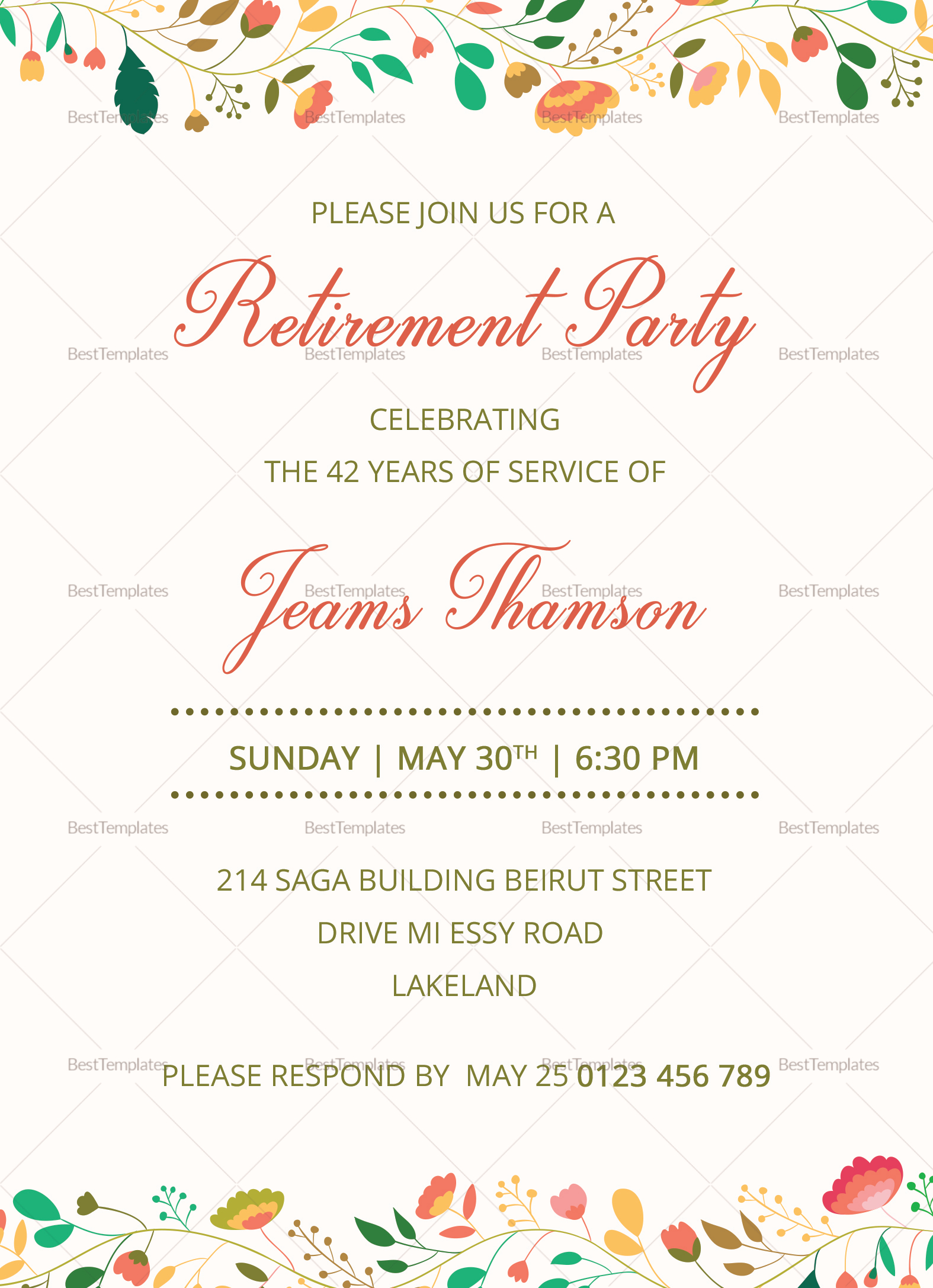 corporate retirement party invitation design template in psd word