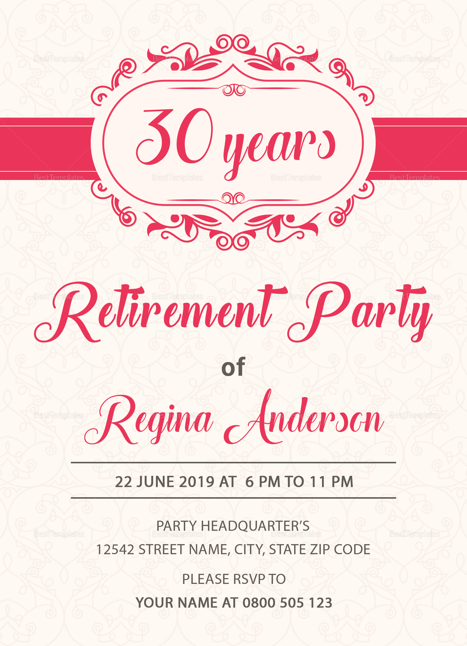 Sample Retirement Party Invitation Design Template in PSD, Word ...
