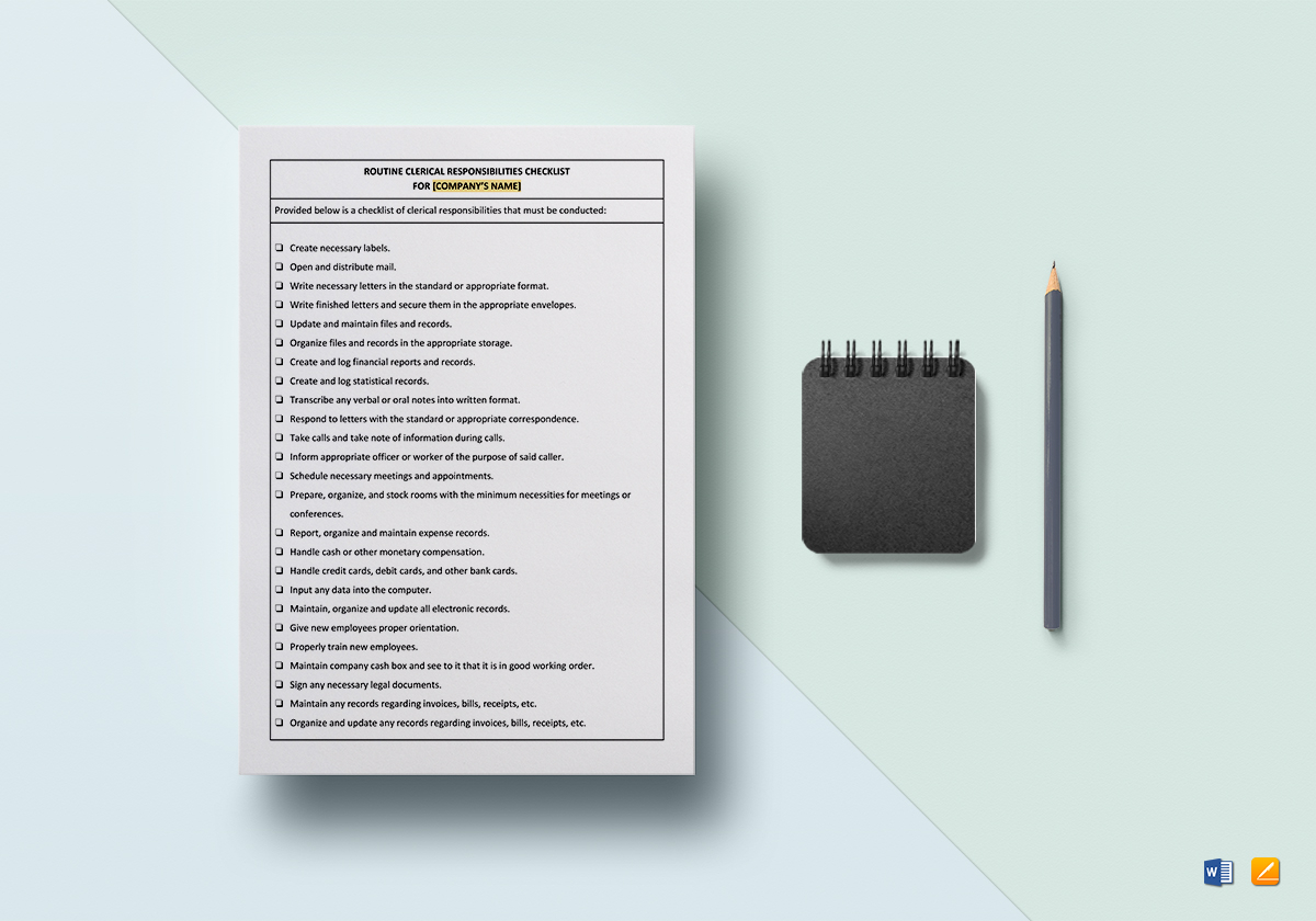 Worksheet Routine Clerical Responsibilities Template