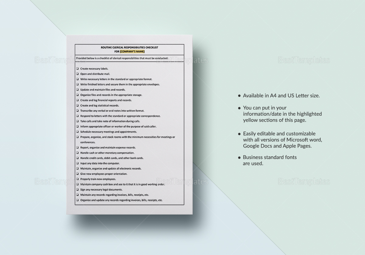 Worksheet Routine Clerical Responsibilities