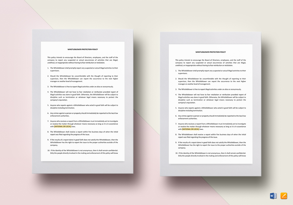 Whistle Blower Protection Policy Template Word, Google Docs, Apple Pages