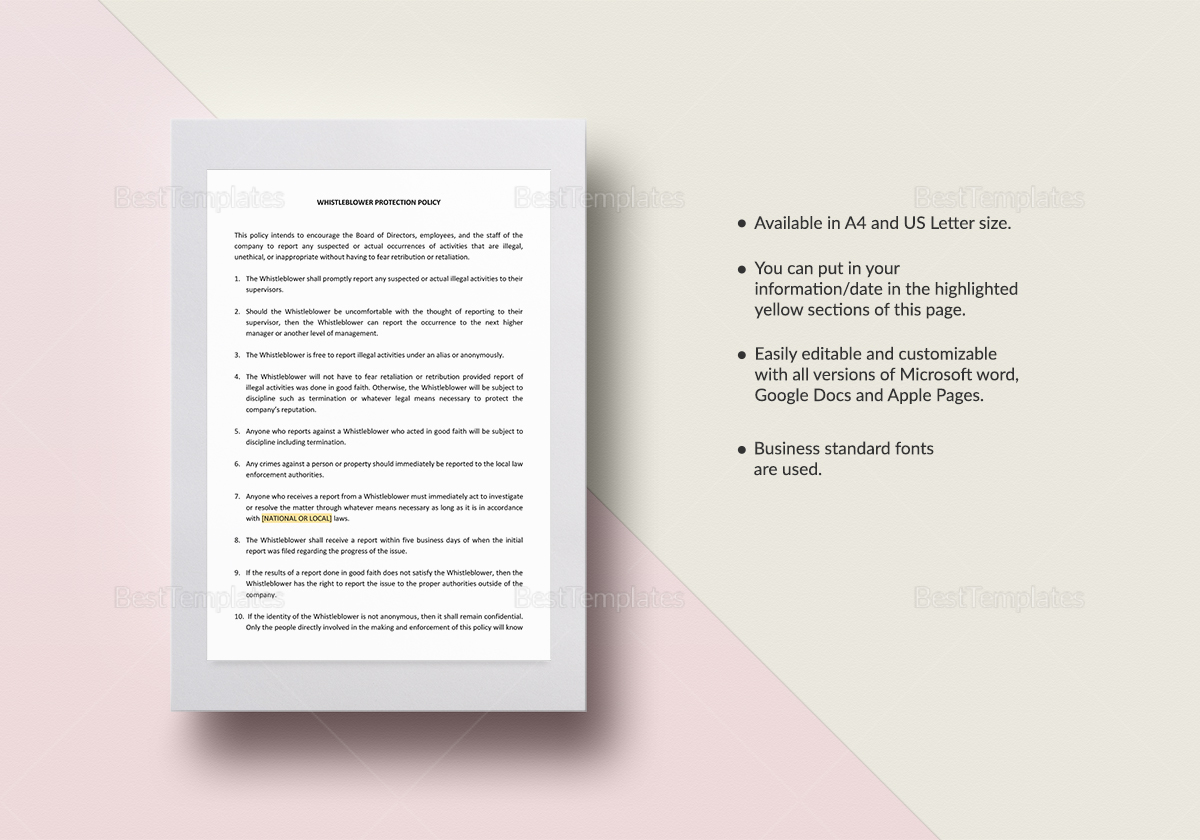 Whistle Blower Protection Policy Template