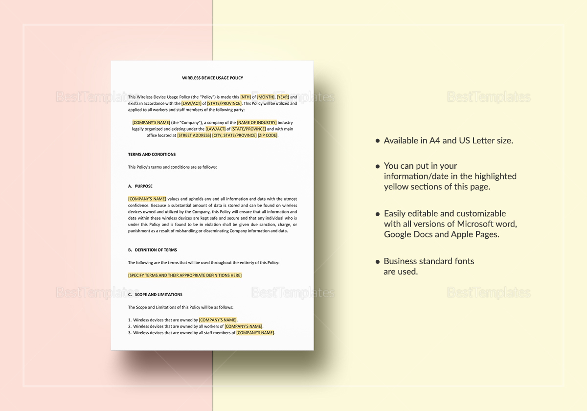 Wireless Device Usage Policy Template