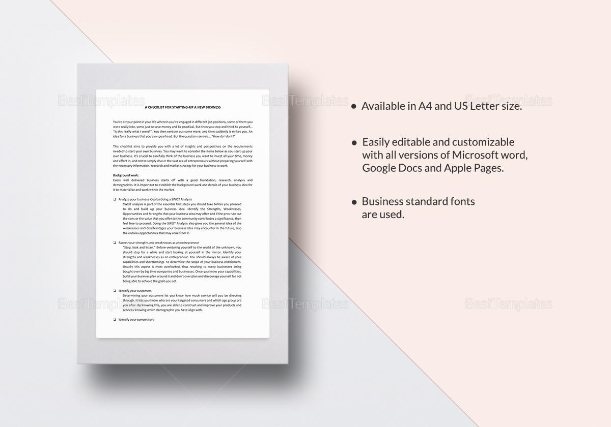 Checklist Start-Up Template