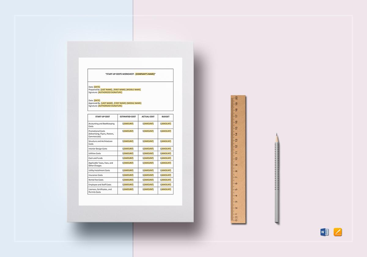 Worksheet Start-Up Costs