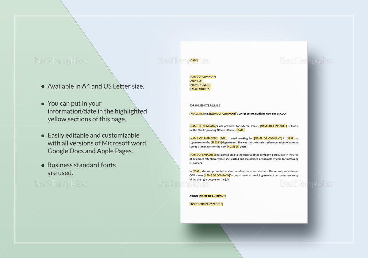 Press Release Promotion of Employee Template