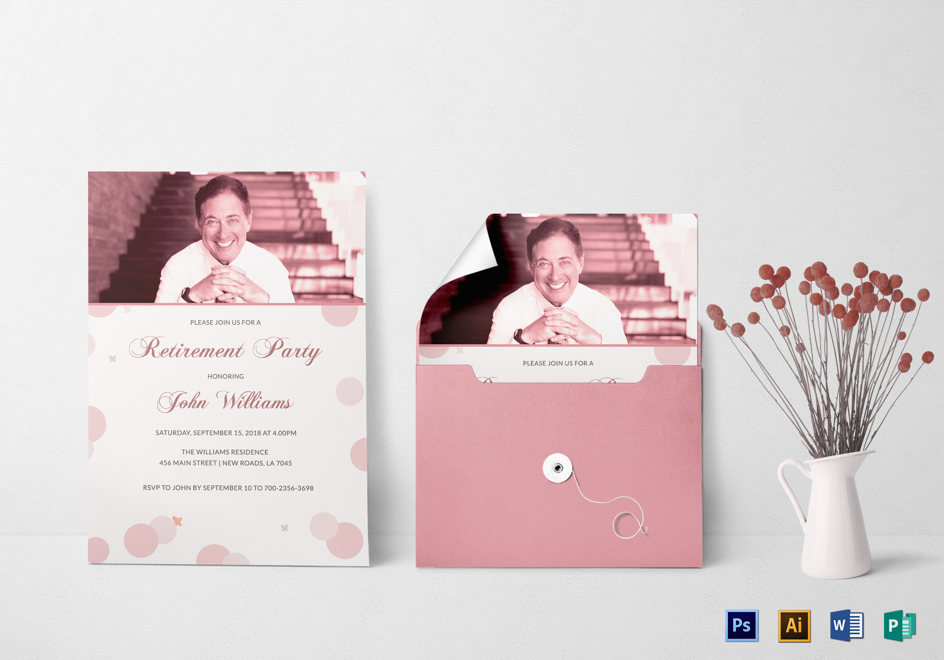 Honored Retirement Party Invitation Card Design Template in PSD ...