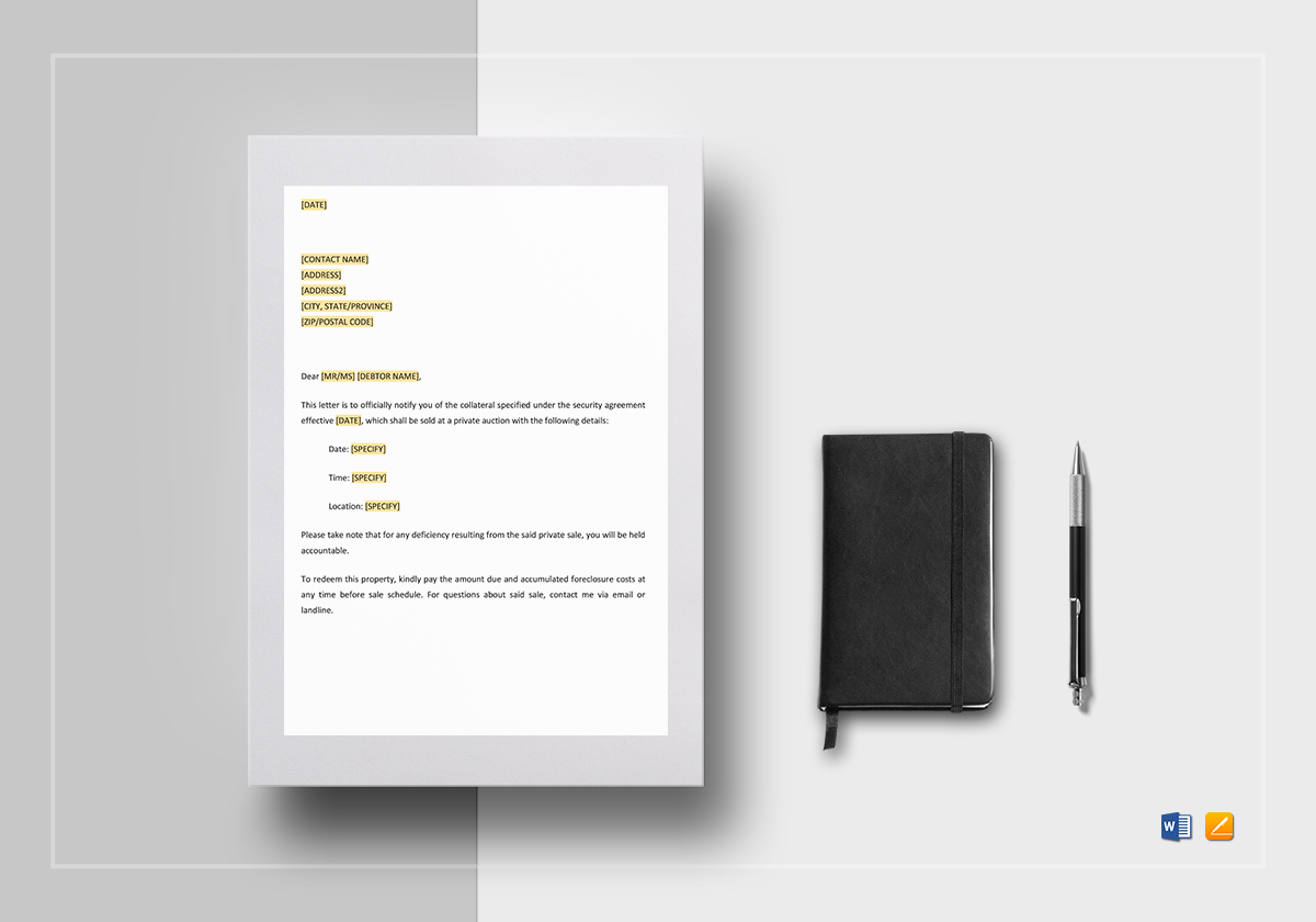 Notice Of Private Sale Of Collateral Template In Word Google Docs - Google docs private template