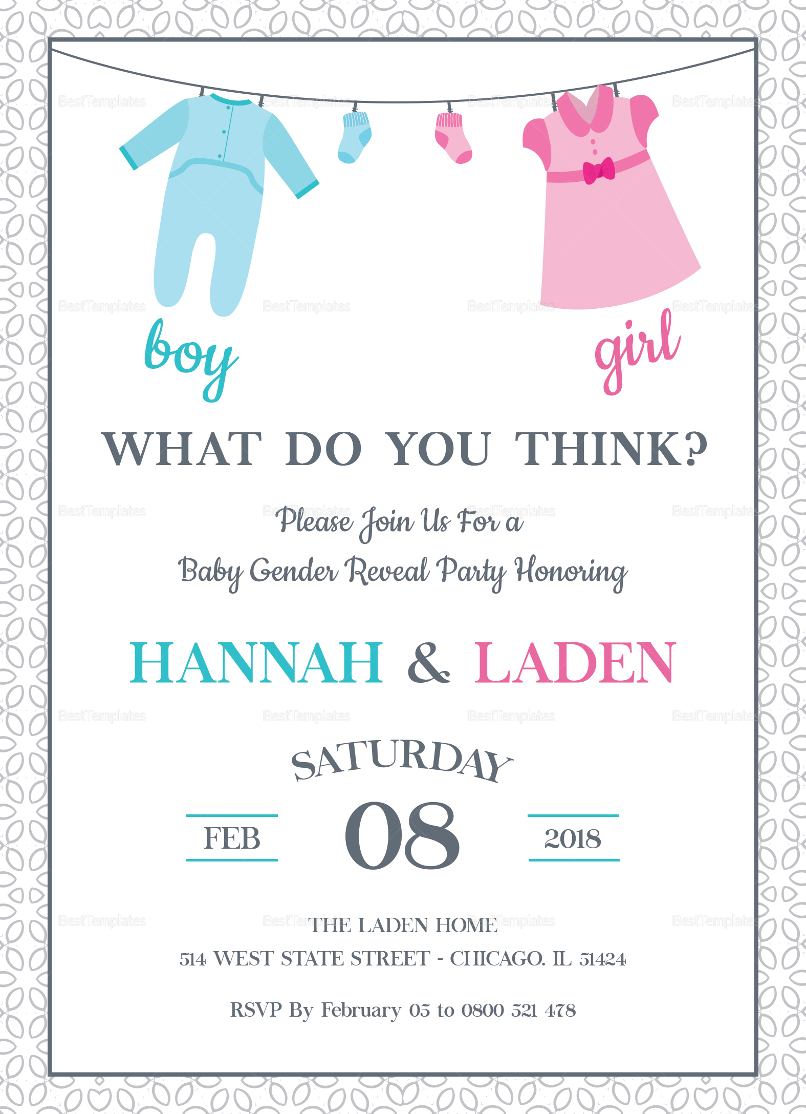 Gender Reveal Baby Shower Invitation Template