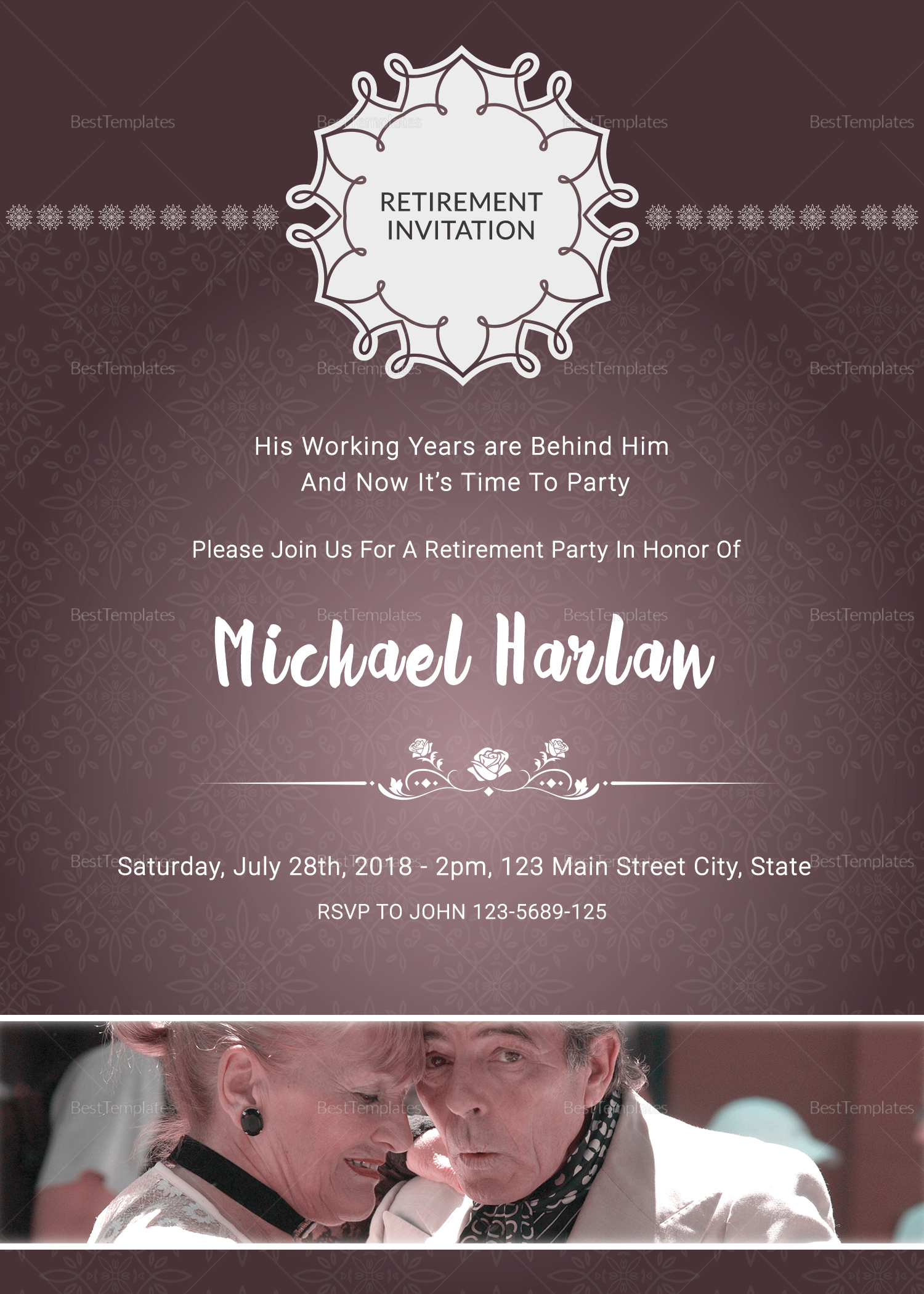 Delighted Retirement Party Invitation Card Design Template in PSD ...
