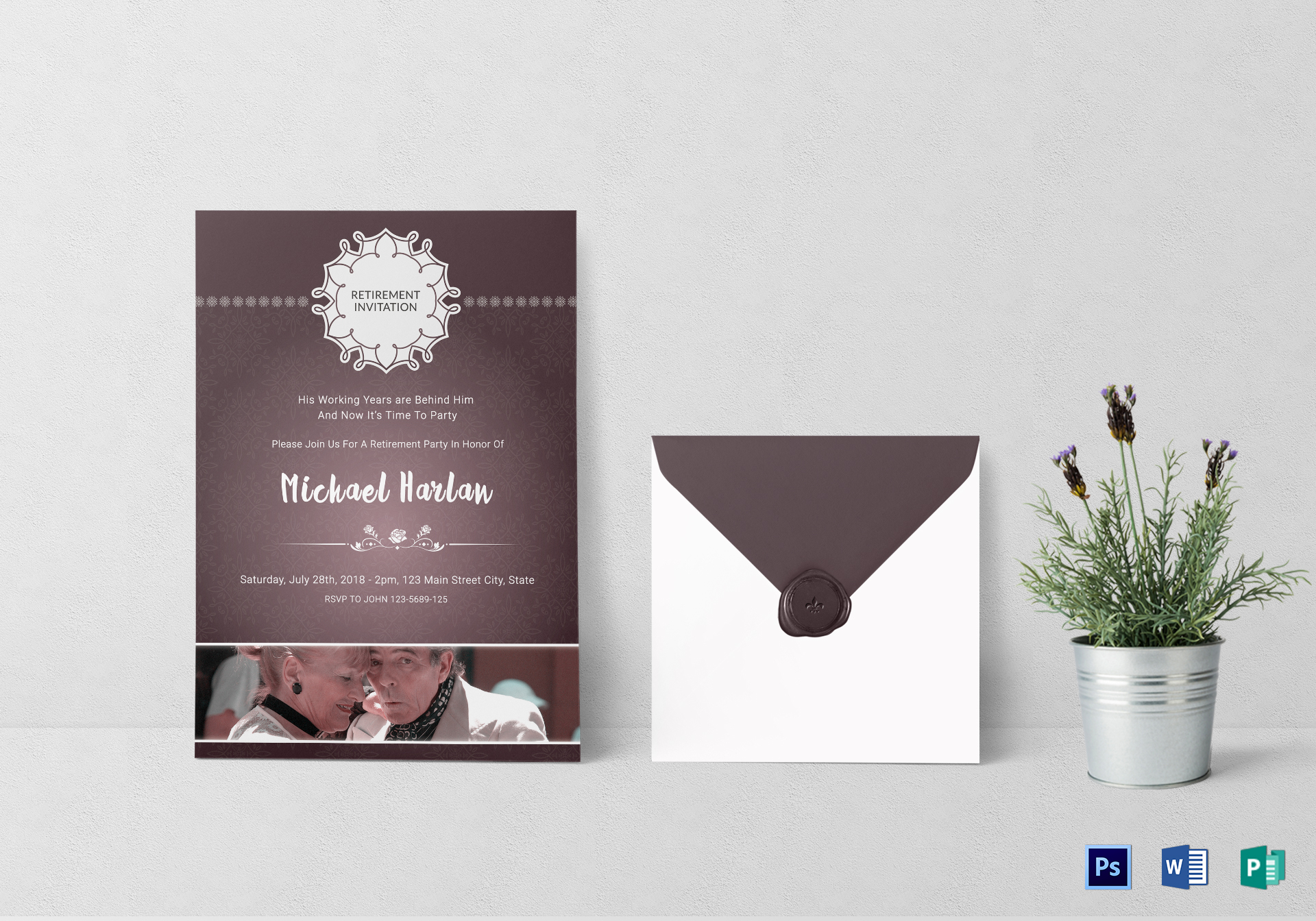 Delighted Retirement Party Invitation Card Template