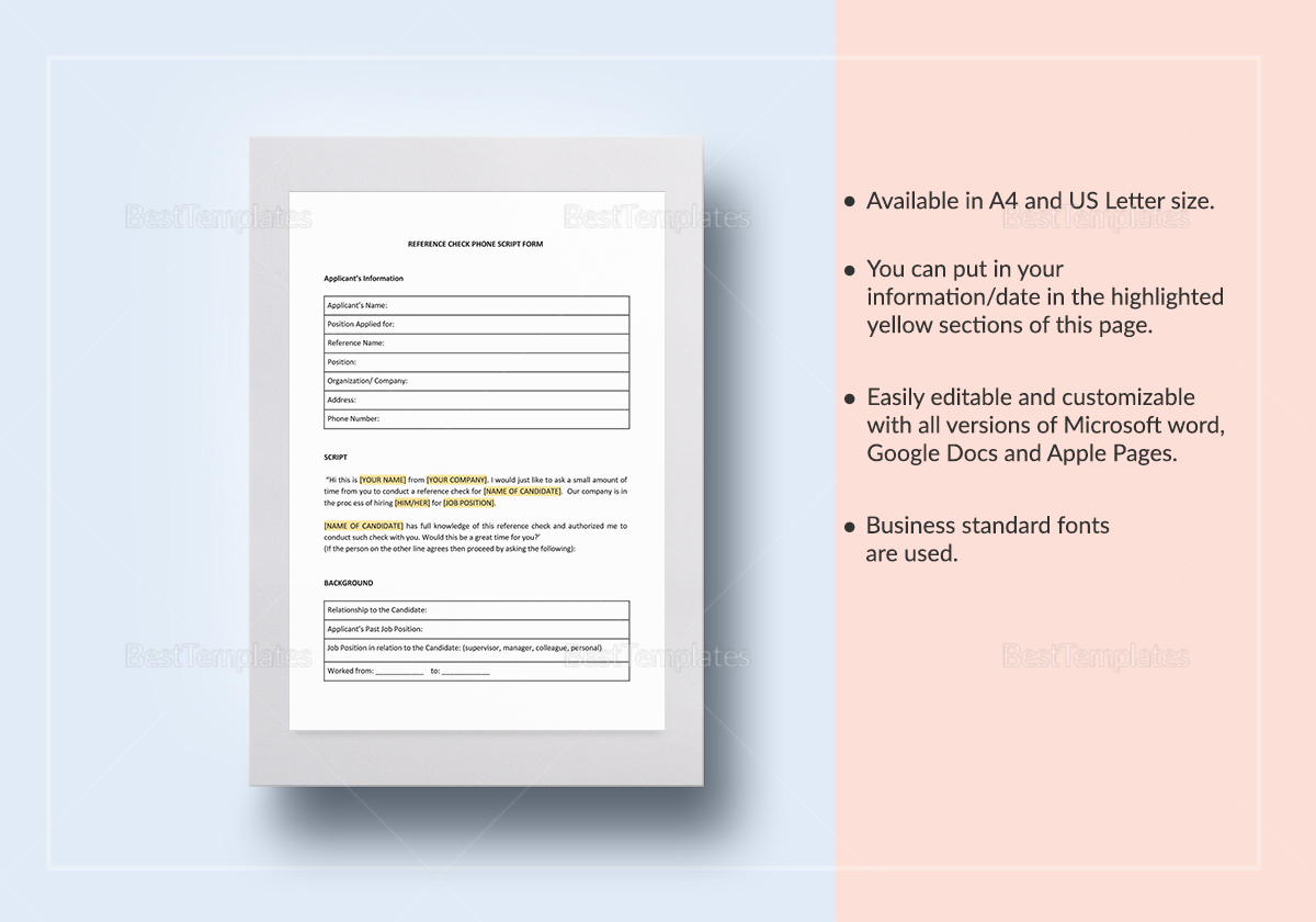 Reference Check Phone Script Template
