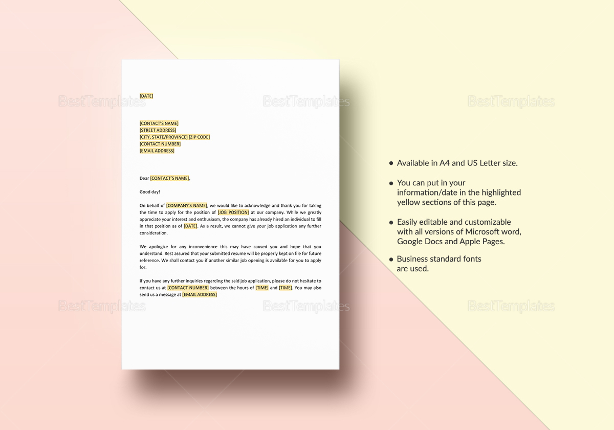 Application Acknowledgement Template