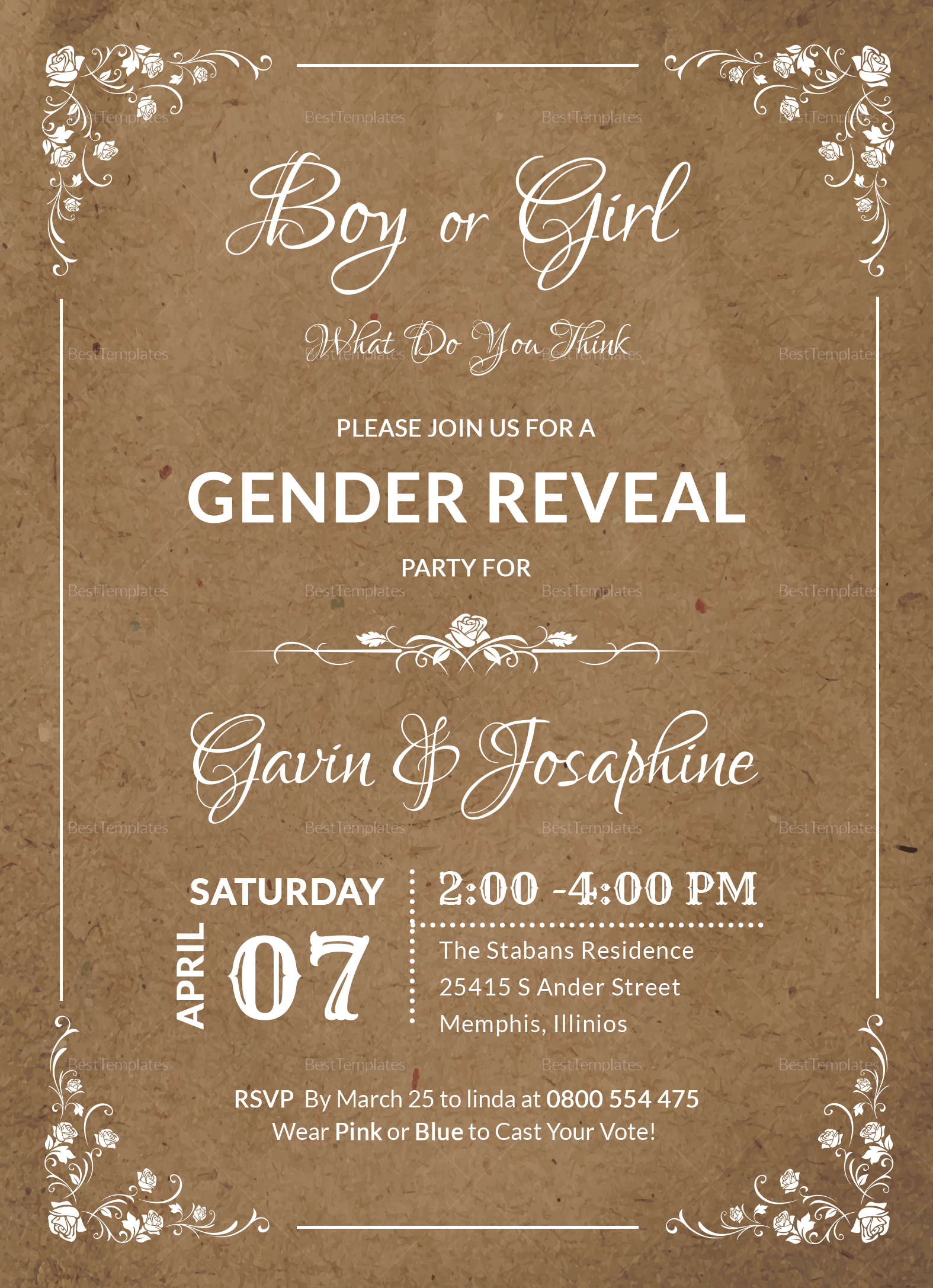 Gender Reveal Party Invitation Design
