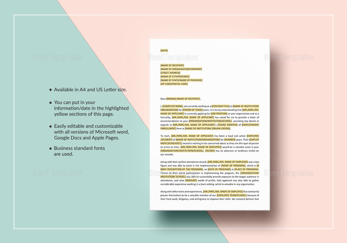 Letter of Reference Long Template