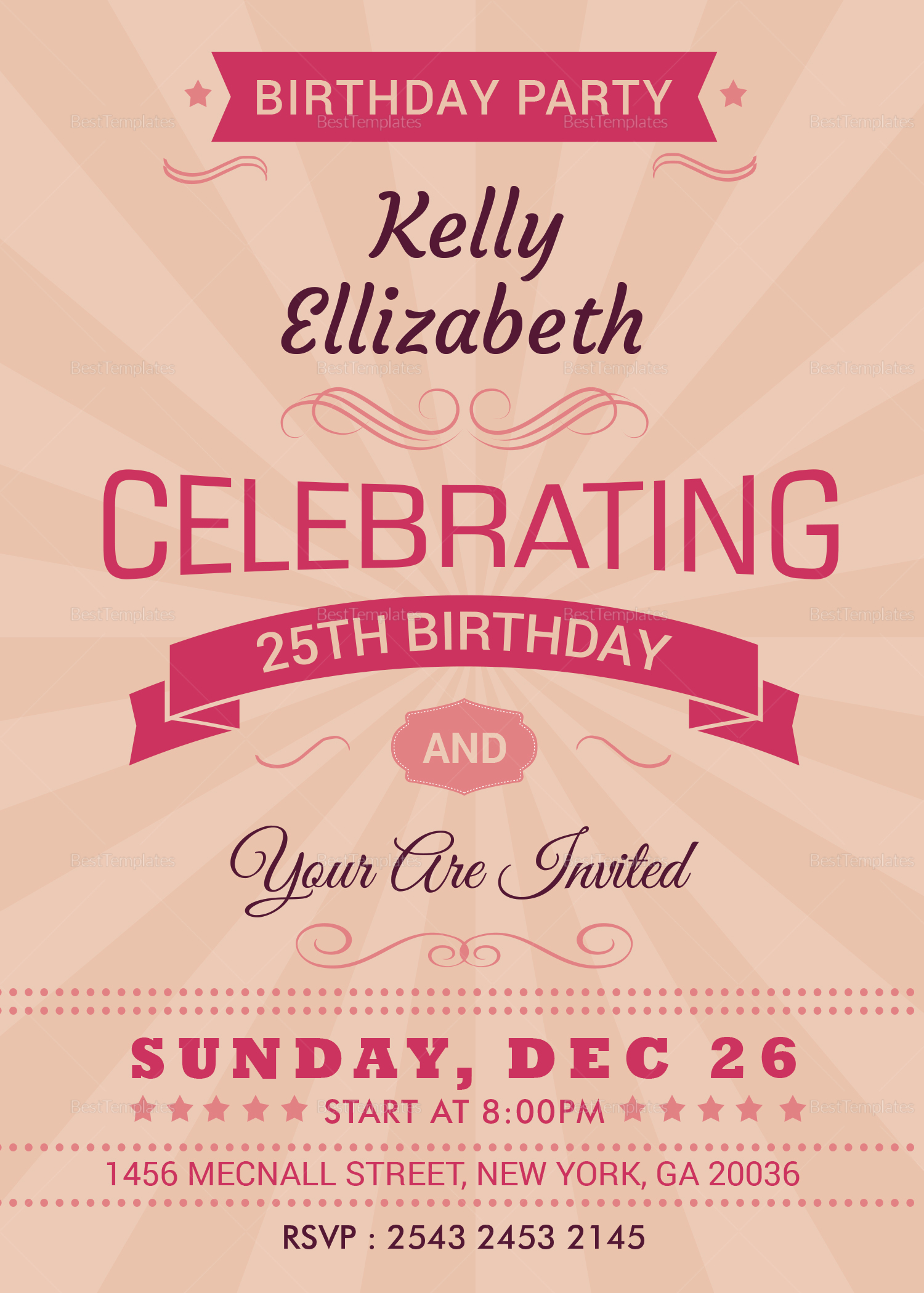 happy retro birthday party invitation card design template